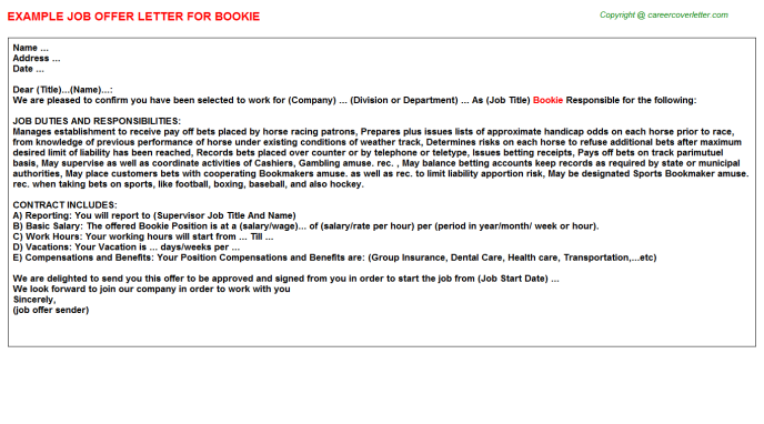 Bookie Job Offer Letter Template