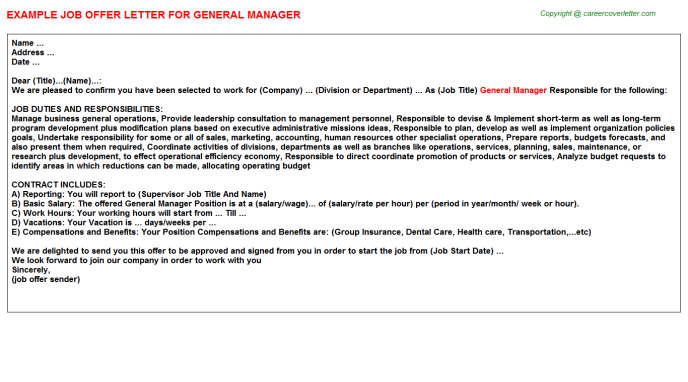 General Manager Offer Letter Template