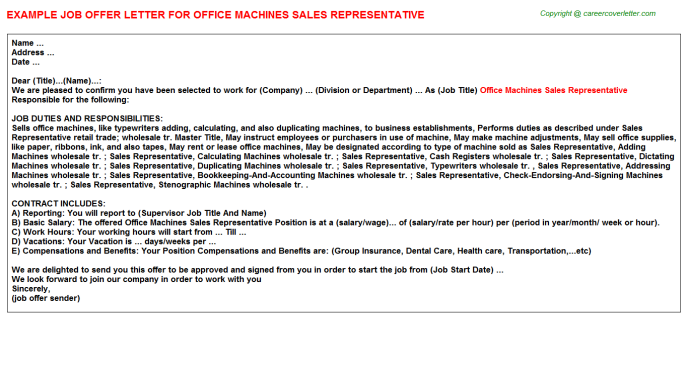 Office Machines Sales Representative Job Offer Letter Template