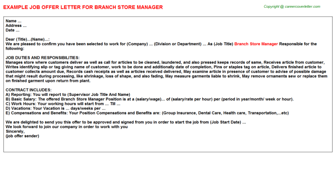 branch store manager offer letter template