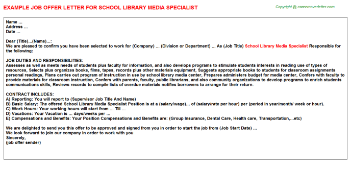 School Library Media Specialist Offer Letter Template