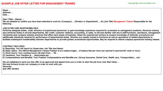 Management Trainee Offer Letter Template