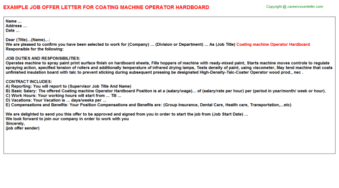 coating machine operator hardboard offer letter template