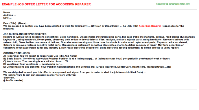 Accordion Repairer Job Offer Letter Template