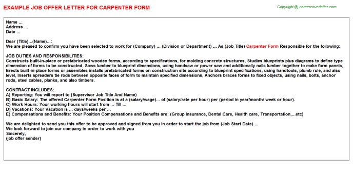 Carpenter Form Job Offer Letter