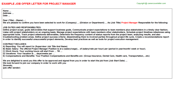 Project Manager Offer Letter Template
