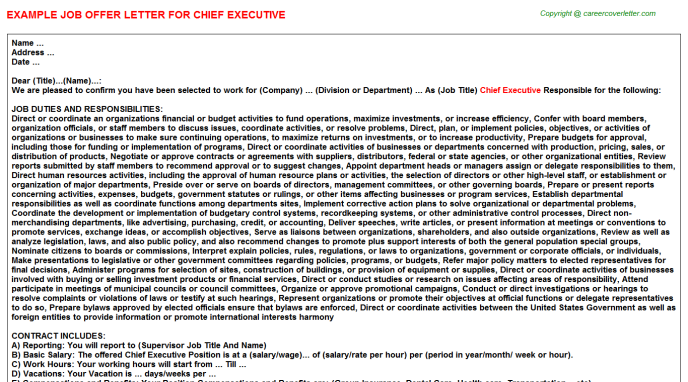 Chief Executive Offer Letter Template
