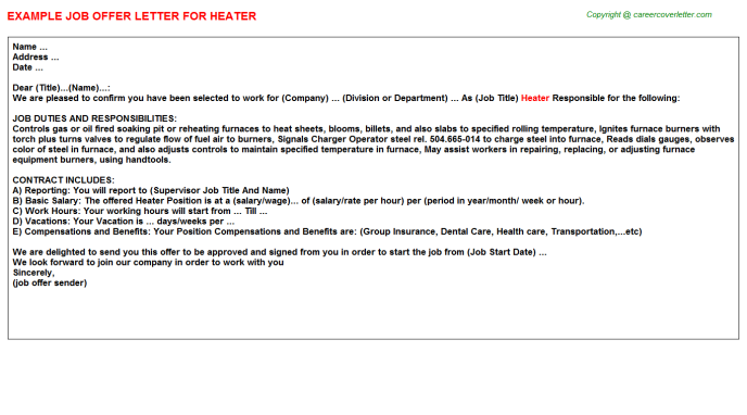 Heater Offer Letter Template