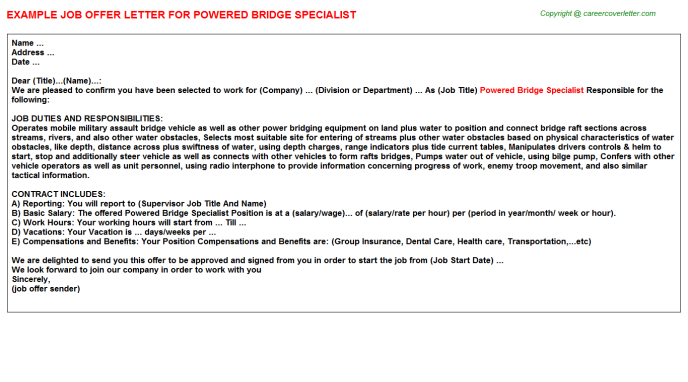 powered bridge specialist offer letter template