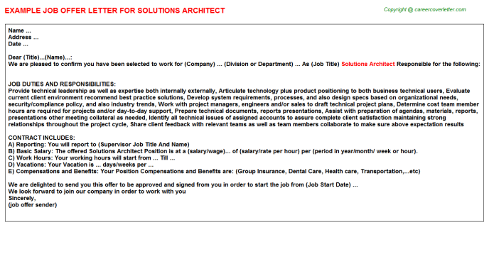 Solutions Architect Offer Letter Template