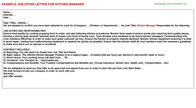 Kitchen Manager Offer Letter Template