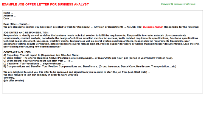 Business Analyst Offer Letter Template