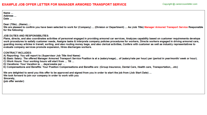 manager armored transport service offer letter template