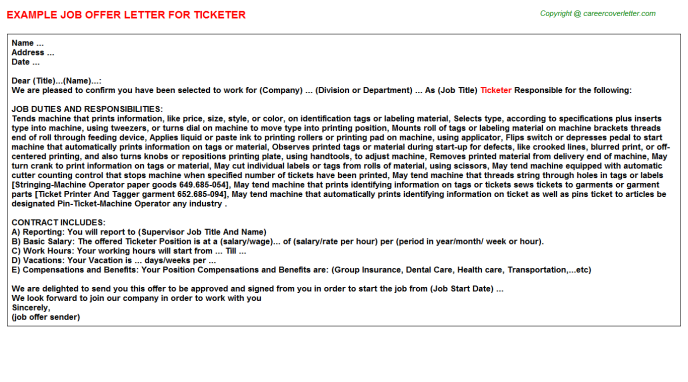 Ticketer Offer Letter Template