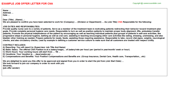 CNA Job Offer Letter Template