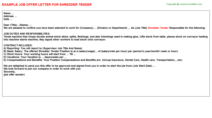 shredder tender offer letter template