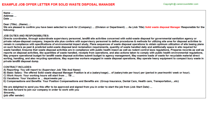 Solid Waste Disposal Manager Offer Letters