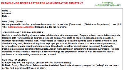 administrative-istant-offer-letter Offer Letter Template For Istant Director on