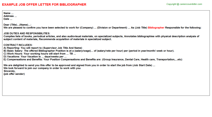 Bibliographer Job Offer Letter Template