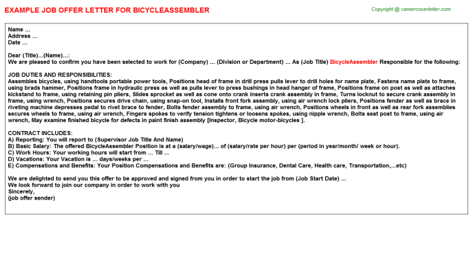 BicycleAssembler Offer Letter Template