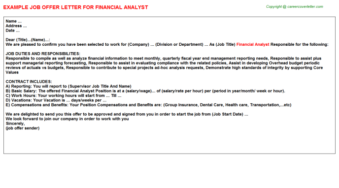 Financial Analyst Offer Letter Template