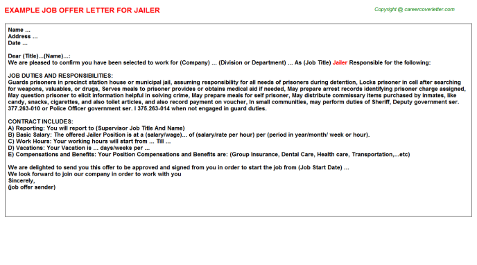 Jailer Offer Letter Template