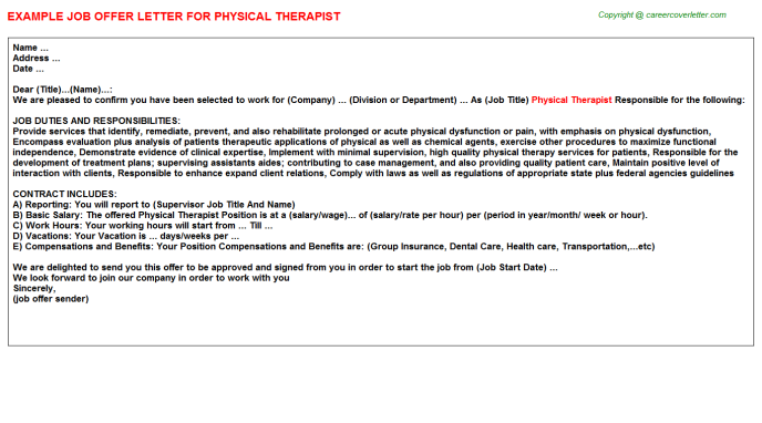 Physical Therapist Offer Letter Template