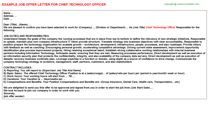 Chief Technology Officer Offer Letter Template