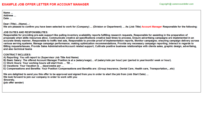 Account Manager Job Offer Letter Template
