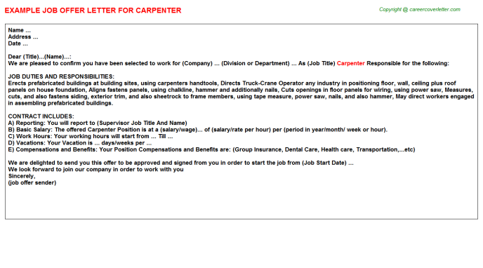 carpenter offer letter template