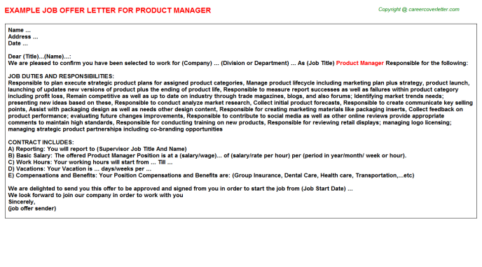 Product Manager Job Offer Letter