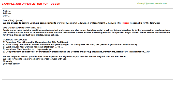 Tubber Offer Letter Template