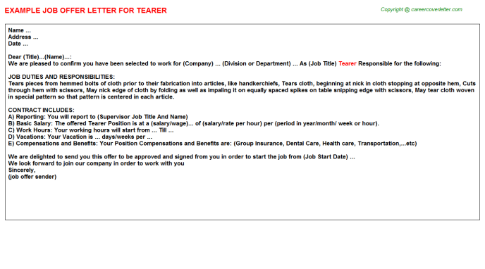 Tearer Job Offer Letter Template
