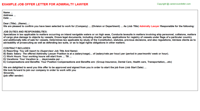 admiralty lawyer offer letter template