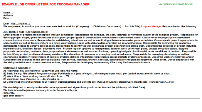 Program Manager Offer Letter Template