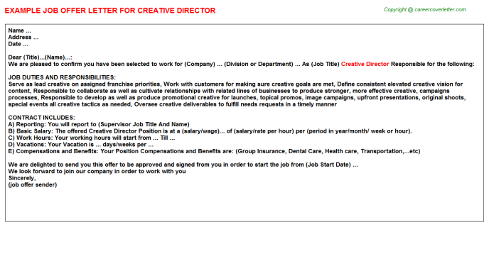 Creative Director Offer Letter Template