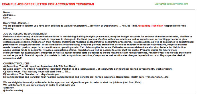 Accounting Technician Offer Letter Template