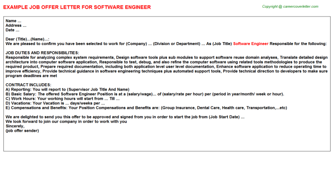 Software Engineer Offer Letter Template