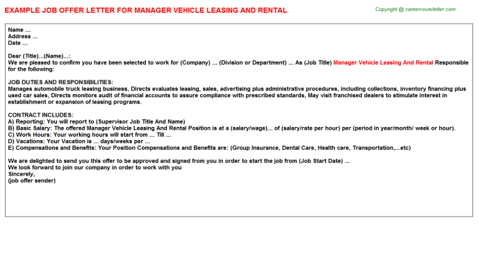 Manager Vehicle Leasing And Rental Offer Letter Template