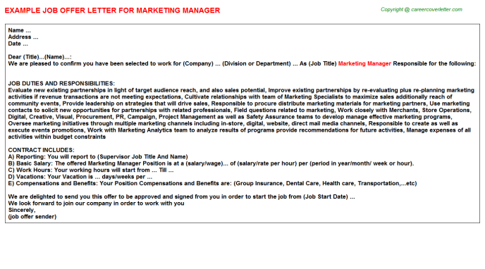 Marketing Manager Offer Letter Template