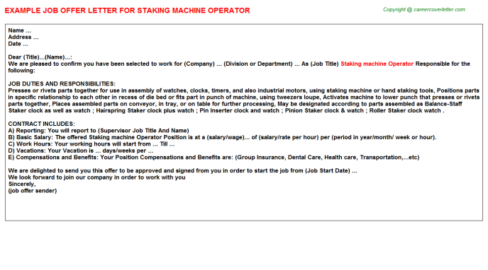 staking machine operator offer letter template