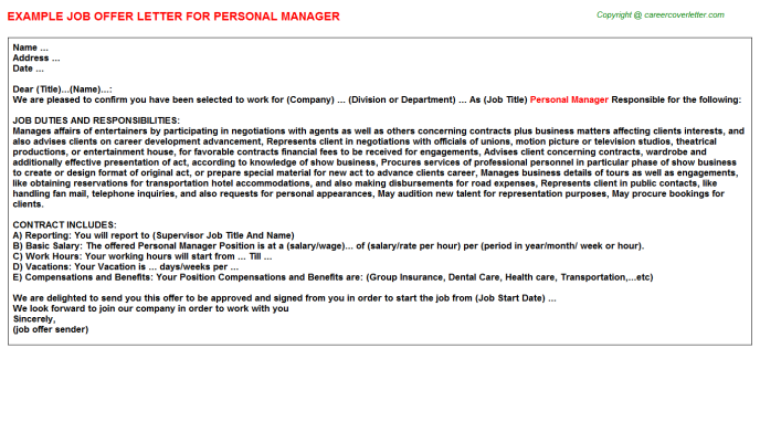 Personal Manager Job Offer Letter Template