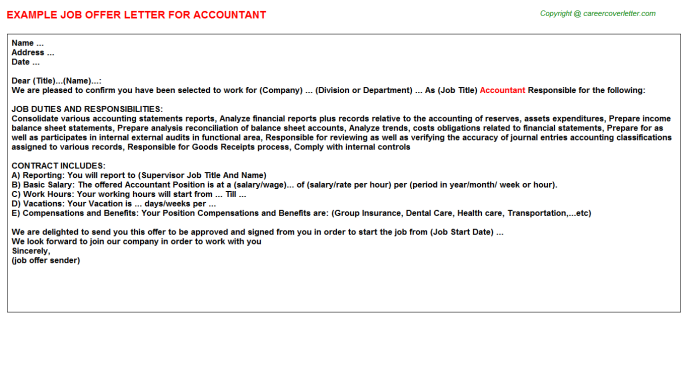 accountant offer letters