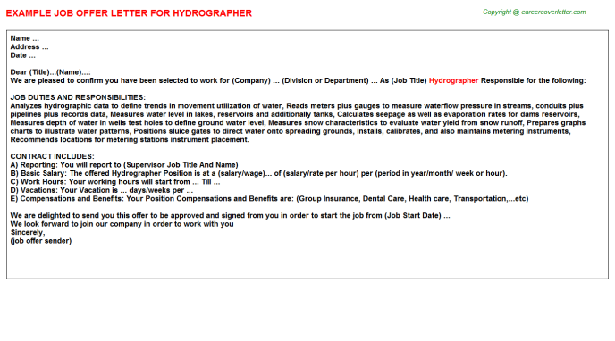 Hydrographer Job Offer Letter Template