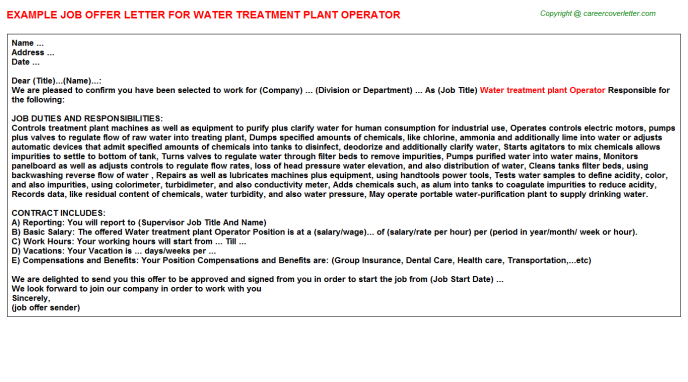 water treatment plant operator job offer letter