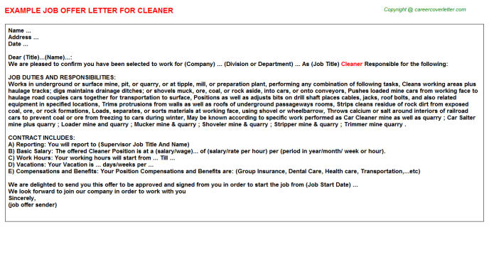 Cleaner Job Offer Letter Template