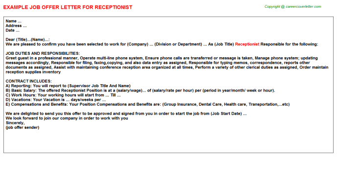 Receptionist Offer Letter Template