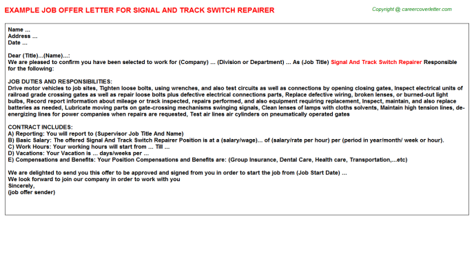 Signal And Track Switch Repairer Offer Letter Template