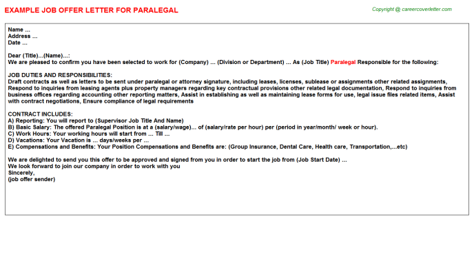 Paralegal Offer Letter Template