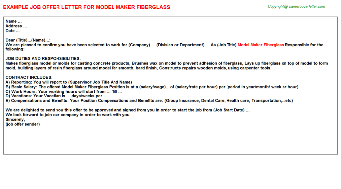 Model Maker Fiberglass Job Offer Letter Example